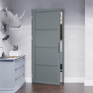 Image: Jeld-Wen Slim-Line Grey 4 Panel Interior Door - Prefinished