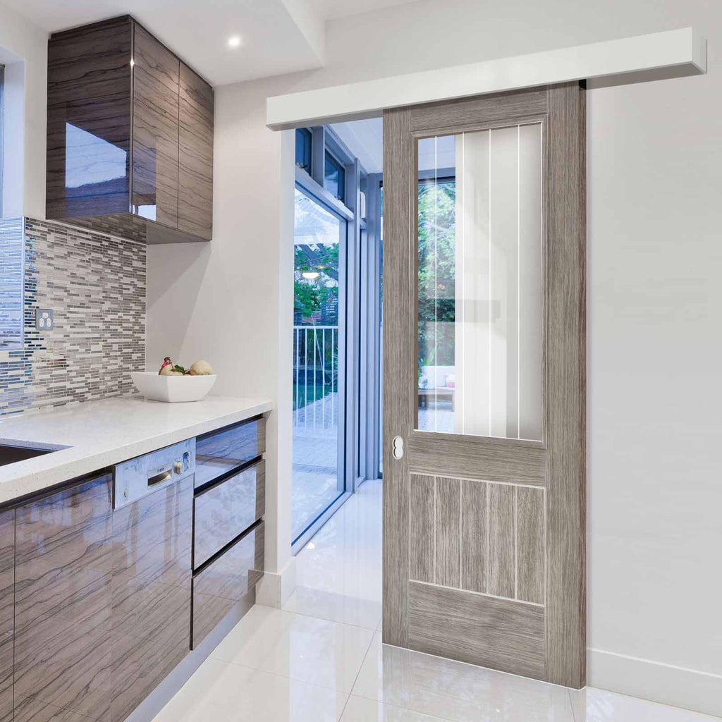 Single Sliding Door & Wall Track - Laminate Mexicano Light Grey Door - Etched Clear Glass - Prefinished