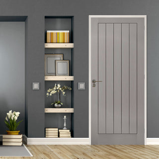 Image: Textured Vertical 5 Panel Grey Door - Prefinished