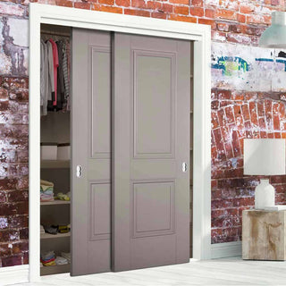 Image: Two Sliding Wardrobe Doors & Frame Kit - Arnhem 2 Panel Grey Primed Door - Unfinished
