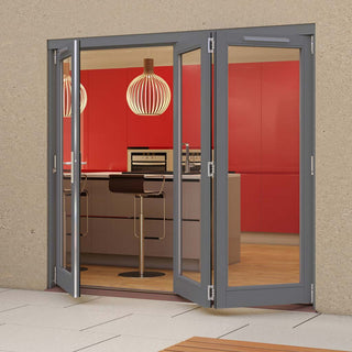 Image: Jeld-Wen Darwin Dusky Grey Painted Hardwood Fold and Slide Patio Doorset, GDAR211L2R, 1 Left - 2 Right, 2094mm Wide