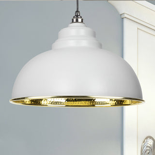 Image: Light Grey Hammered Brass Harborne Pendant Ceiling Light Fitting