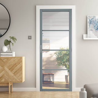 Image: Jeld-Wen Slim-Line Grey 4 Pane Clear Glazed Interior Door - Prefinished