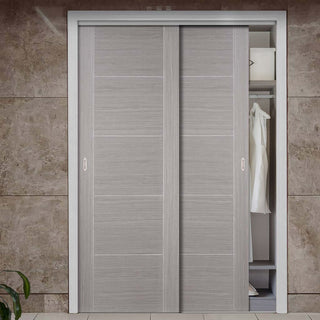 Image: Two Sliding Wardrobe Doors & Frame Kit - Vancouver Light Grey Door - Prefinished