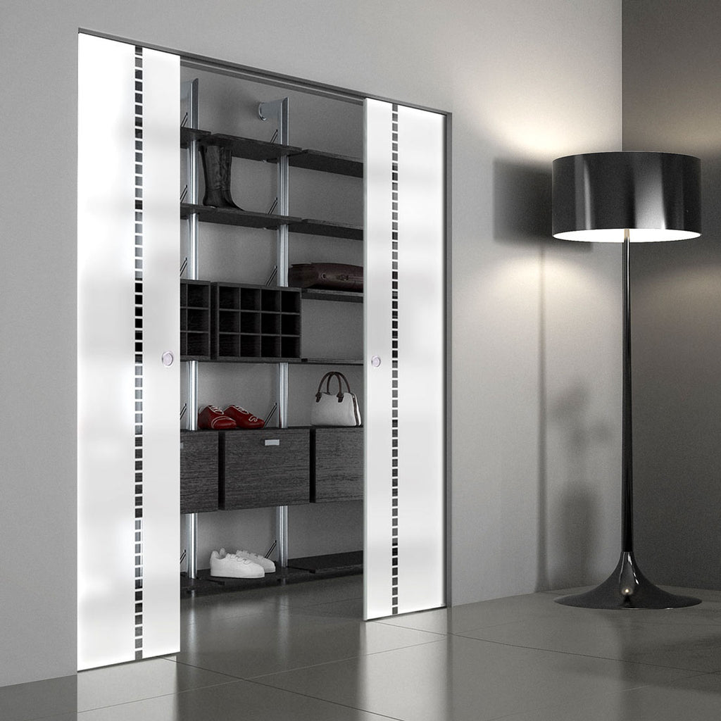 Gifford 8mm Obscure Glass - Clear Printed Design - Double Absolute Pocket Door