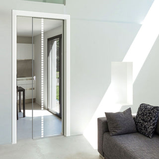 Image: Gifford 8mm Clear Glass - Obscure Printed Design - Single Evokit Glass Pocket Door