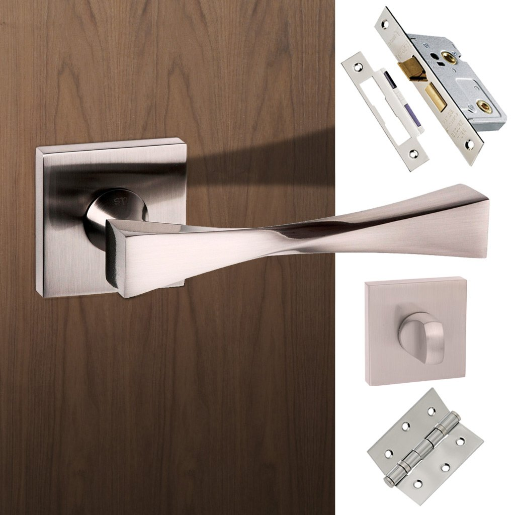 Senza Pari Guido Bathroom Lever on Flush Rose - Satin Nickel Handle Pack