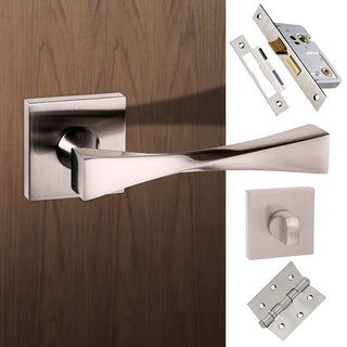 Image: Senza Pari Guido Bathroom Lever on Flush Rose - Satin Nickel Handle Pack