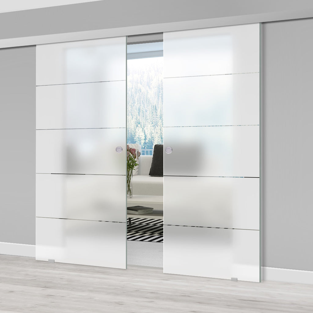 Double Glass Sliding Door - Gullane 8mm Obscure Glass - Clear Printed Design - Planeo 60 Pro Kit