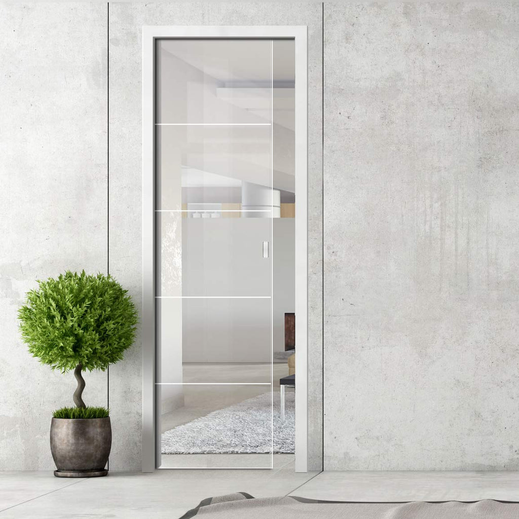 Gullane 8mm Clear Glass - Obscure Printed Design - Single Evokit Glass Pocket Door