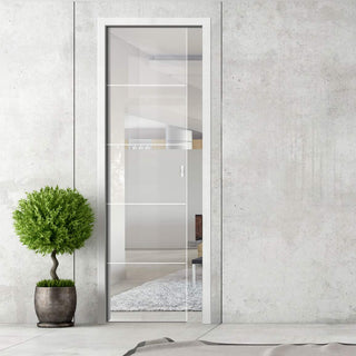 Image: Gullane 8mm Clear Glass - Obscure Printed Design - Single Evokit Glass Pocket Door