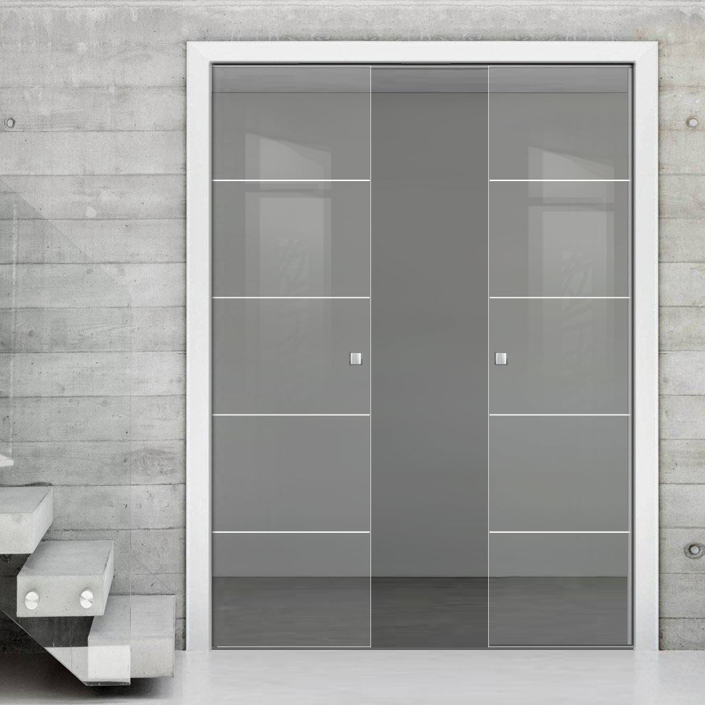 Gullane 8mm Clear Glass - Obscure Printed Design - Double Evokit Pocket Door