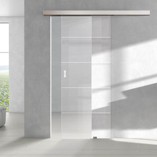Image: Single Glass Sliding Door - Gullane 8mm Clear Glass - Obscure Printed Design - Planeo 60 Pro Kit