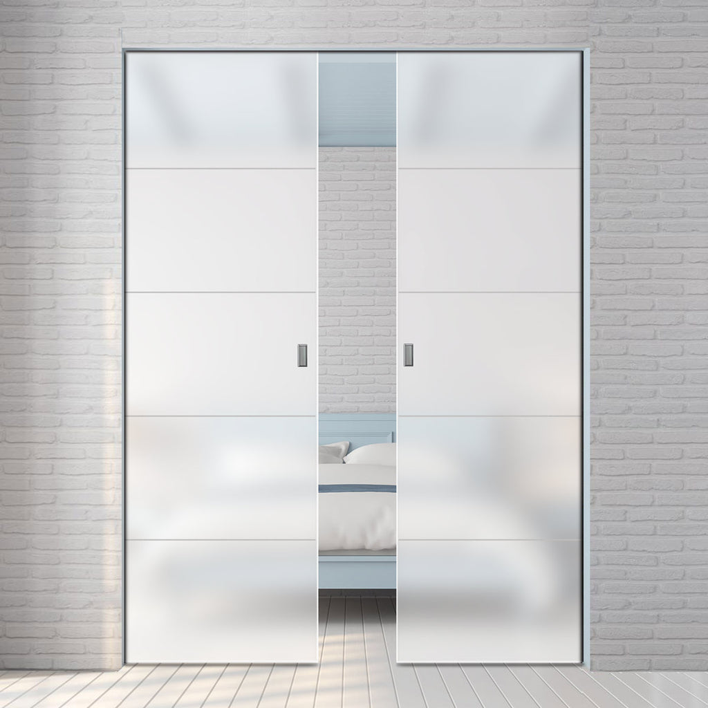 Gullane 8mm Obscure Glass - Obscure Printed Design - Double Absolute Pocket Door