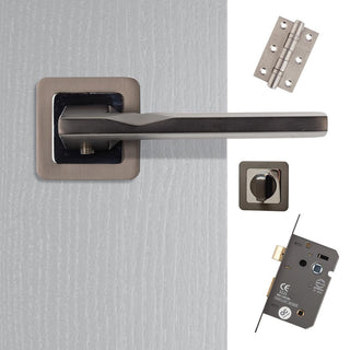 Image: Hadrian Bathroom Door Handle Pack - Matt Satin Black