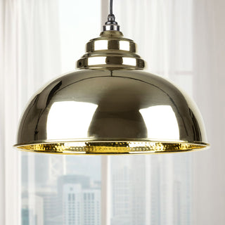 Image: Hammered Brass Harborne Pendant Ceiling Light Fitting