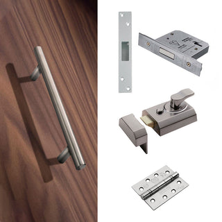 Image: External 325mm T Bar Pull Front Door Handle Pack - Satin Stainless Steel