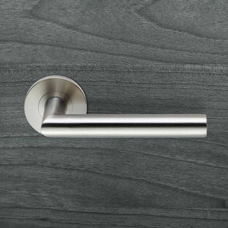 Image: 19mm Grade 4 Mitred Safety Lever Handles on Round Rose - Anti Bacterial