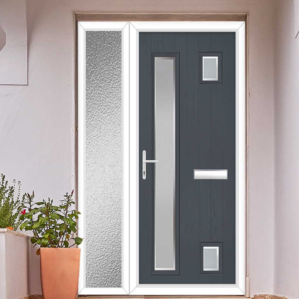 Cottage Style Hansa 3 Composite Door Set with Single Side Screen - Hnd Ice Edge Glass - Shown in Slate Grey