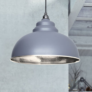 Image: Dark Grey Hammered Nickel Harborne Pendant Ceiling Light Fitting
