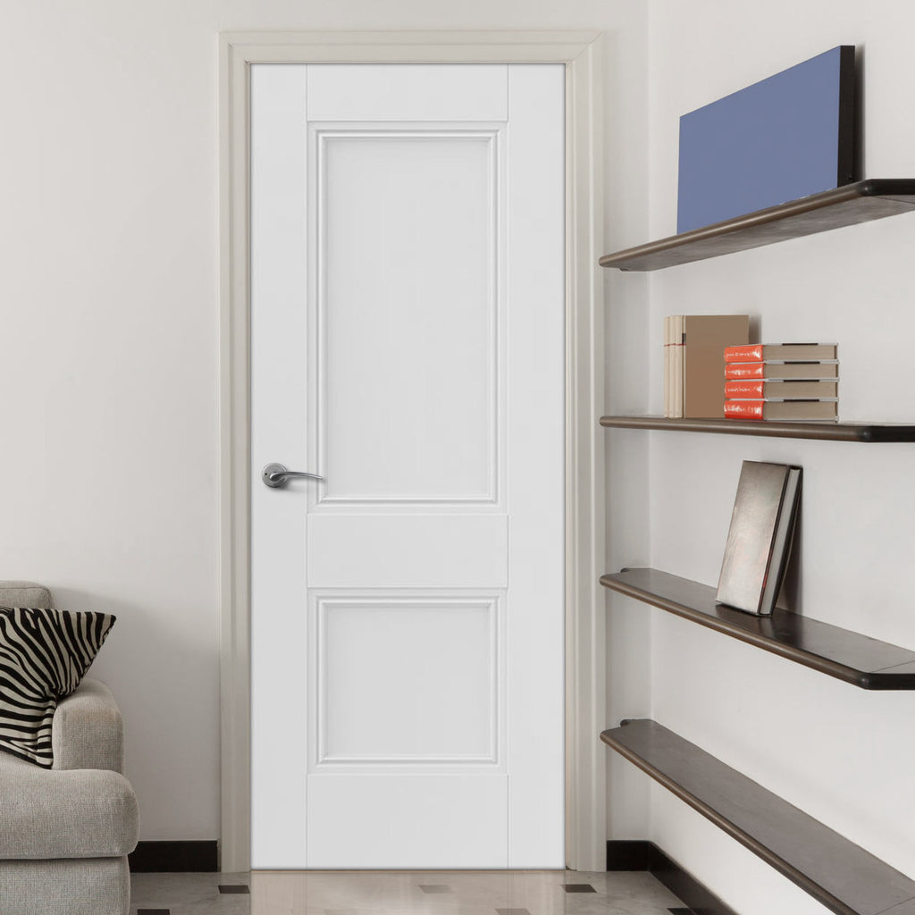 J B Kind White Classic Hardwick Panel Primed Fire Door - 1/2 Hour Fire Rated