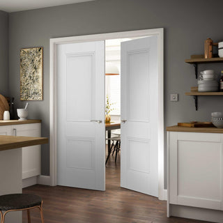 Image: J B Kind White Classic Hardwick Panel Primed Door Pair