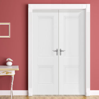 Image: J B Kind White Classic Hardwick Panel Primed Fire Door Pair - 1/2 Hour Fire Rated