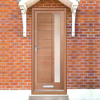 Image: Modena Mahogany Door - Frosted Double Glazing