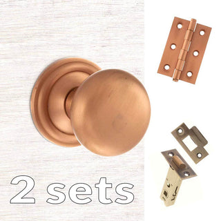 Image: Two Pack Harrogate Mushroom Old English Mortice Knob - Urban Satin Copper