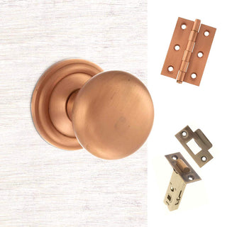 Image: Harrogate Mushroom Old English Mortice Knob - Urban Satin Copper Handle Pack