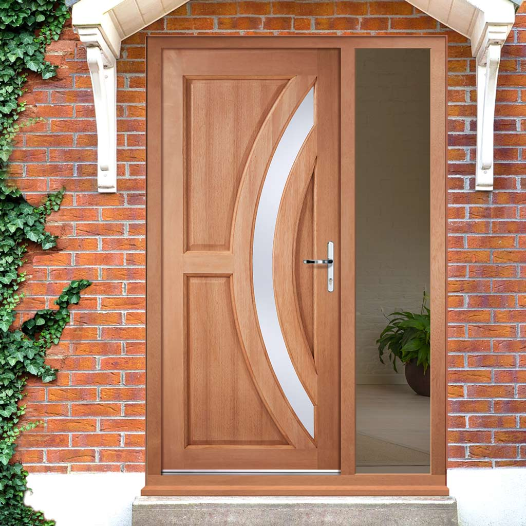Harrow External Hardwood Door and Frame Set - Frosted Double Glazing - One Unglazed Side Screen, From LPD Joinery