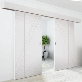 Image: Double Sliding Door & Wall Track - Hastings Flush Door - White Primed