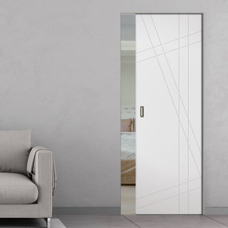 Image: Hastings Flush Absolute Evokit Single Pocket Door - White Primed