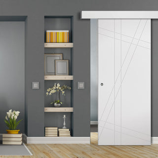 Image: Single Sliding Door & Wall Track - Hastings Flush Door - White Primed