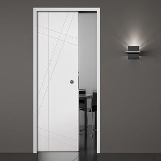 Image: Hastings Flush Single Evokit Pocket Door - White Primed