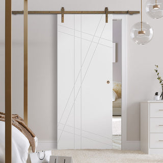 Image: Single Sliding Door & Track - Hastings Flush Door - White Primed
