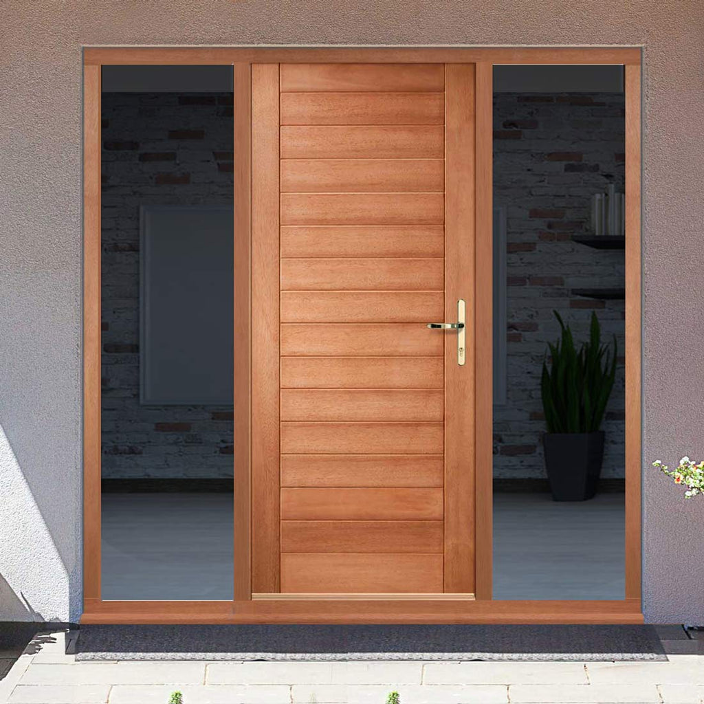 Hayes Flush External Hardwood Door and Frame Set - Two Unglazed Side Screens, From LPD Joinery
