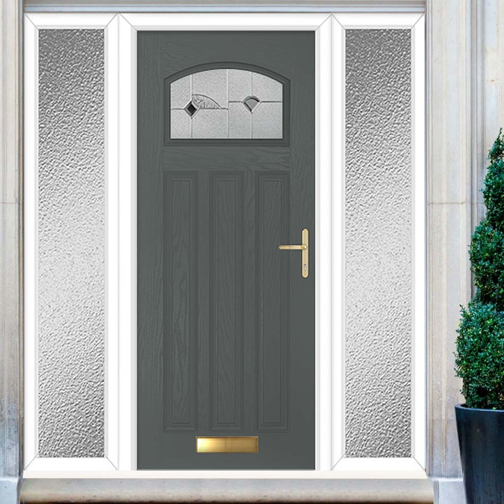 Premium Composite Entrance Door Set with Two Side Screens - Hebden Monza Glass - Shown in Mouse Grey