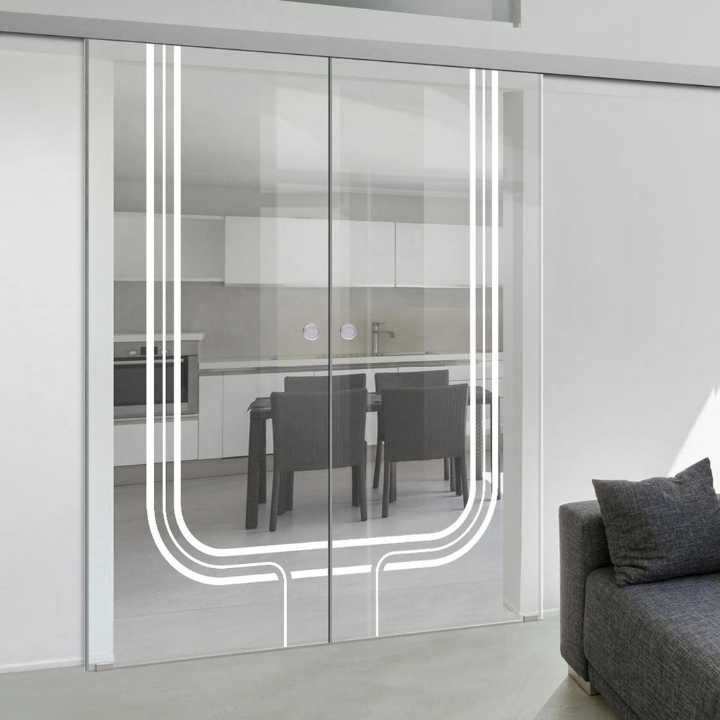 Double Glass Sliding Door - Holburn 8mm Clear Glass - Obscure Printed Design - Planeo 60 Pro Kit