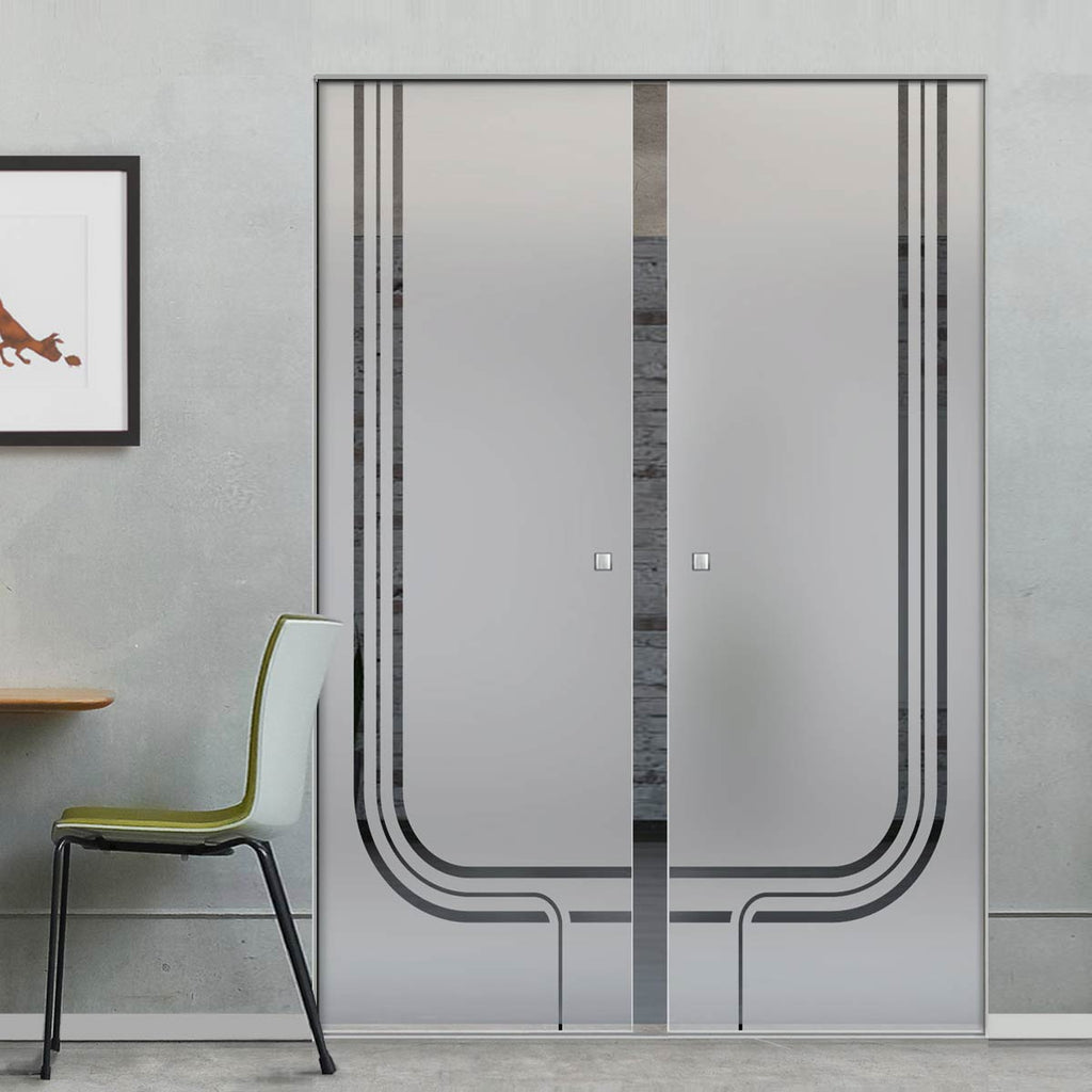 Holburn 8mm Obscure Glass - Clear Printed Design - Double Absolute Pocket Door