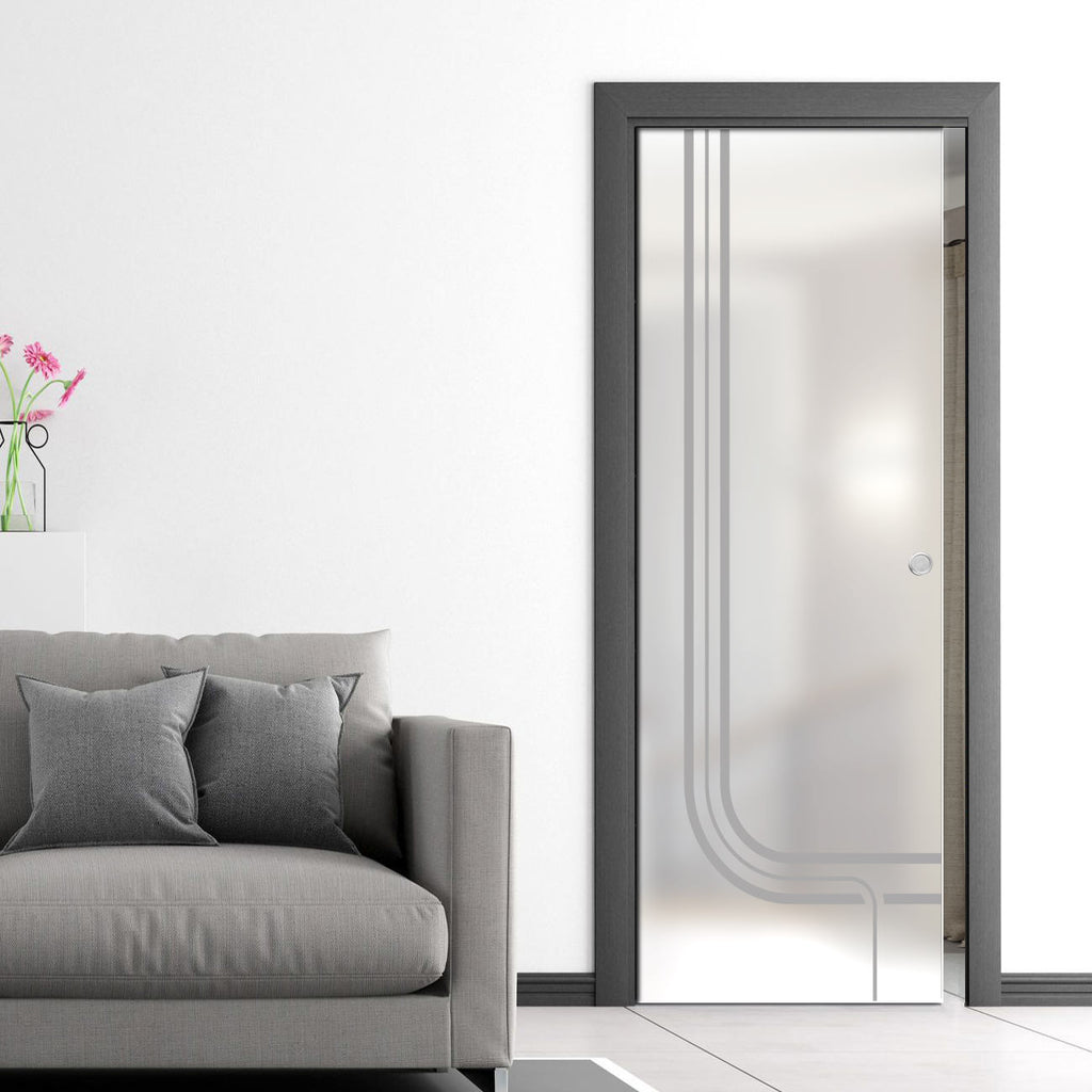 Holburn 8mm Obscure Glass - Obscure Printed Design - Single Evokit Glass Pocket Door