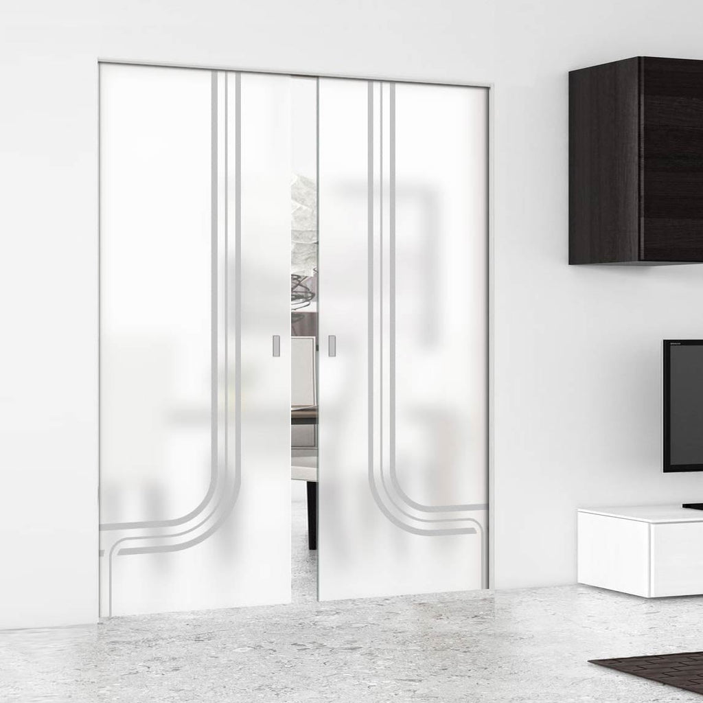 Holburn 8mm Obscure Glass - Obscure Printed Design - Double Absolute Pocket Door