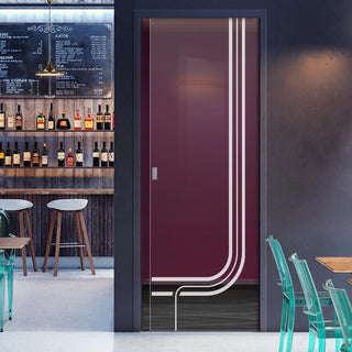 Image: Holburn 8mm Clear Glass - Obscure Printed Design - Single Evokit Glass Pocket Door
