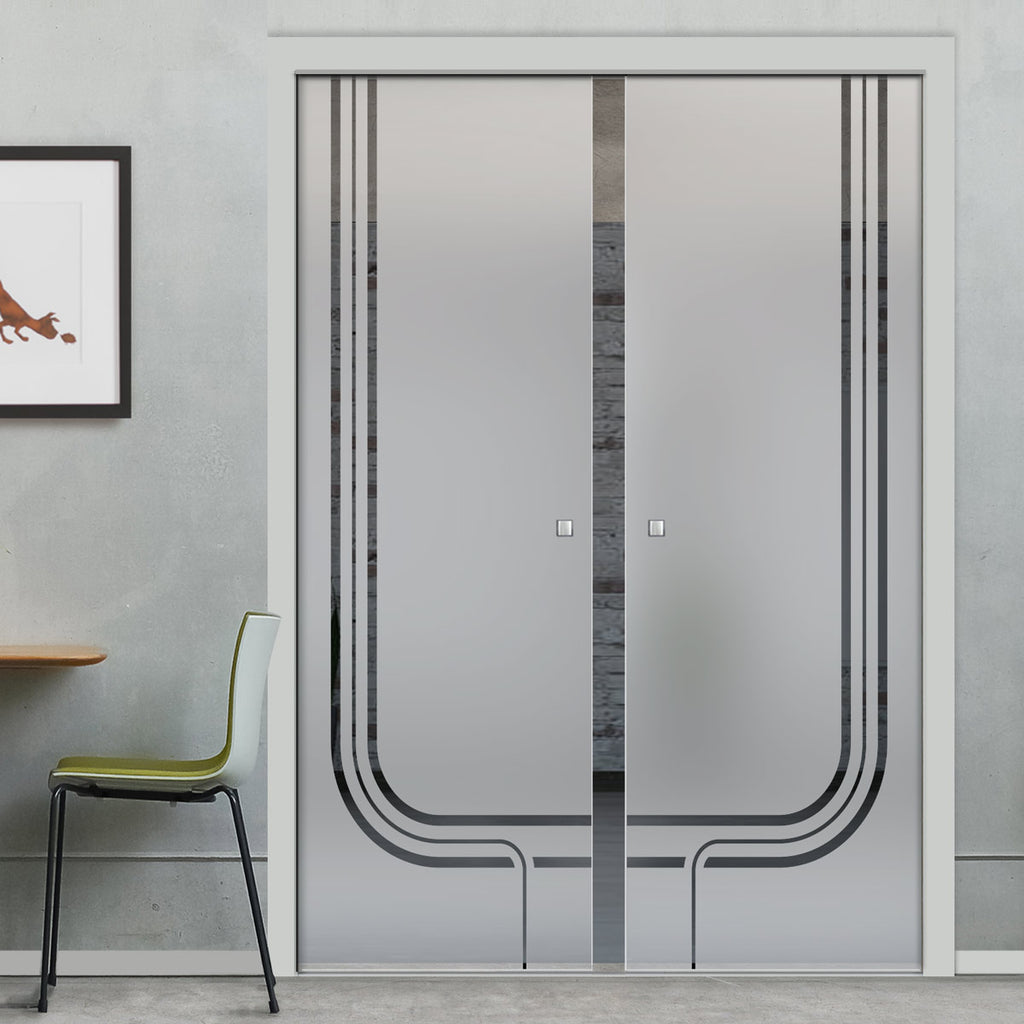 Holburn 8mm Obscure Glass - Clear Printed Design - Double Evokit Pocket Door