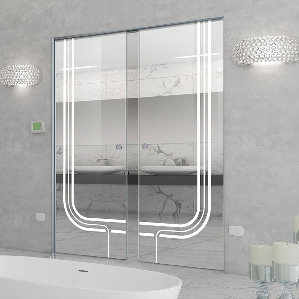 Holburn 8mm Clear Glass - Obscure Printed Design - Double Absolute Pocket Door