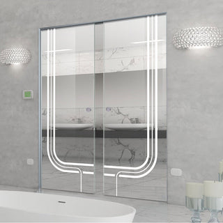 Image: Holburn 8mm Clear Glass - Obscure Printed Design - Double Absolute Pocket Door