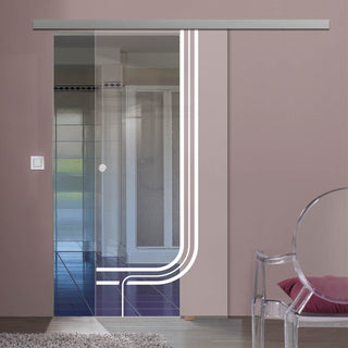 Image: Single Glass Sliding Door - Holburn 8mm Clear Glass - Obscure Printed Design - Planeo 60 Pro Kit