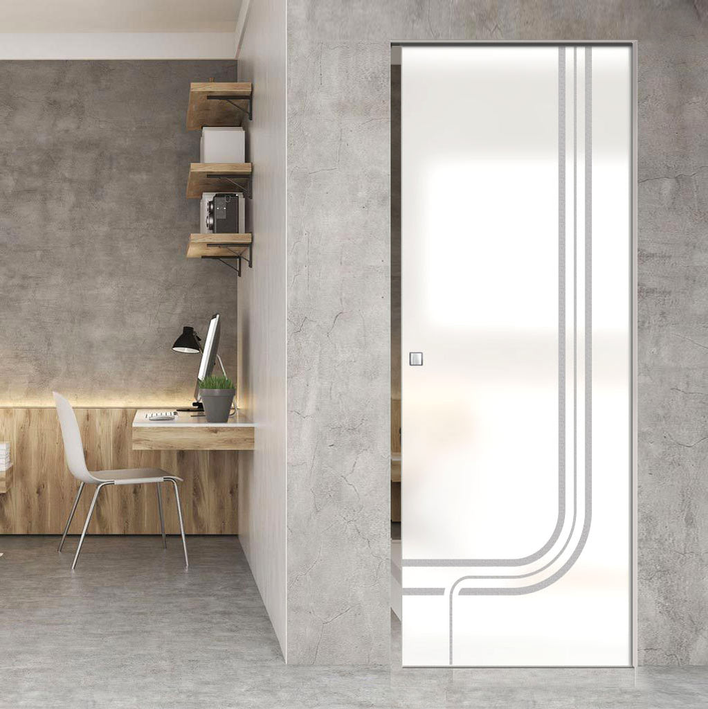 Holburn 8mm Obscure Glass - Obscure Printed Design - Single Absolute Pocket Door