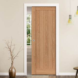 Image: Laminates Hudson Oak Coloured Single Evokit Pocket Door - Prefinished
