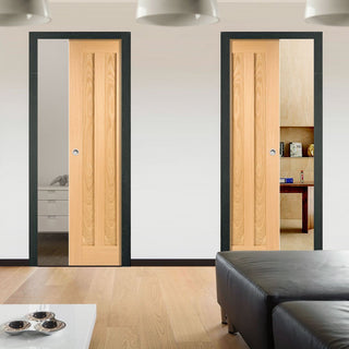 Image: Idaho 3 Panel Oak Veneer Unico Evo Pocket Doors